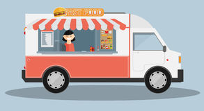 Mobile food car. Vector Royalty Free Stock Photography