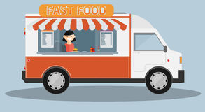Mobile food car. Vector Royalty Free Stock Images
