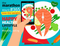 Mobile food photo with calories plan Stock Images