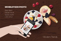 Mobile food photo scene Royalty Free Stock Images