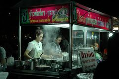 Mobile Food Shop at Night Market Stock Photos