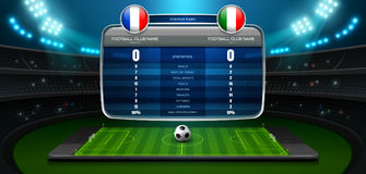 Mobile football live score board stadium and spotlight. Vector illustration Royalty Free Stock Image