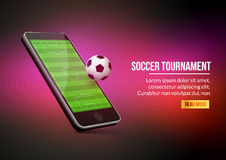 Mobile football soccer. Mobile sport play match. Online soccer game  Royalty Free Stock Photos
