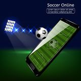 Mobile football soccer. Mobile sport play match. Stock Image
