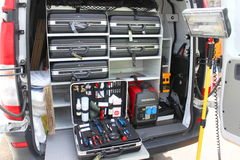 Mobile forensic laboratory royalty free stock photo