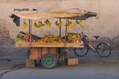 Mobile fresh fruit stand. Marrakesh morocco Stock Photos