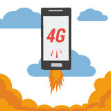 Mobile with 4G internet flying in clouds. Vector banner smart mobile phone with 4G internet flying in clouds and flames from the bottom. Illustration in flat royalty free illustration