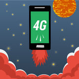 Mobile with 4G internet flying in night sky. Vector banner smart mobile phone with 4G internet flying in night sky with stars and moon and flames from the bottom Stock Photos