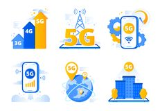 Mobile 5G network. City fast internet hotspot, wireless telecommunications and fifth generation networks vector stock illustration