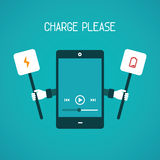 Mobile gadget need charge vector concept in flat style Stock Image