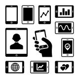 Mobile gadgets with business diagrams icons set Stock Images