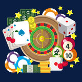 Mobile gamble online casino game play flat web gambling concept Royalty Free Stock Photo