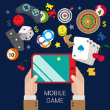 Mobile gamble online casino game play flat web gambling concept Stock Photos