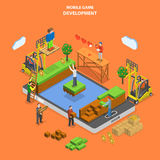 Mobile game development flat isometric vector. Mobile game development flat isometric vector concept. Developers team build virtual world of mobile game Royalty Free Stock Photos