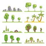 Mobile game tree icons set forest nature landscape construction elements flat design concept vector illustration. Mobile game tree icons set nature forest Stock Photos