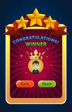 Mobile Game Winner screen UI Vector Illustration royalty free stock photography