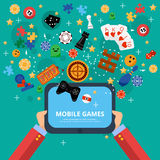 Mobile games entertainment poster Stock Image