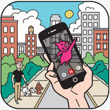 Mobile Gaming in the City Stock Photos