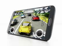 Mobile gaming. Concept with smartphone playing a racing game. My own interface design Stock Photos