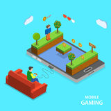 Mobile gaming flat isometric vector concept. Royalty Free Stock Photos