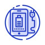 Mobile, Gebühr, voll, Linie Ikone der Stecker-blauen punktierten Linie stock abbildung