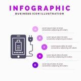 Mobile, Gebühr, voll, Stecker Infographics-Darstellungs-Schablone 5 Schritt-Darstellung vektor abbildung
