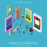 Mobile generation isometric concept. Flat 3d web isometric mobile generation infographic concept vector. Crowded street between smartphones listening music vector illustration