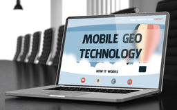 Mobile Geo Technology on Laptop in Meeting Room. 3D. Stock Photos