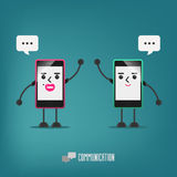 Mobile girl and boy talking : communication Stock Images