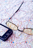 Mobile GPS and map. Close up Stock Image