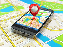 Mobile GPS navigation concept. Smartphone on map of the city,. 3d