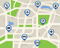 Mobile GPS navigation map location with pin marker on map Stock Images