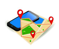 Mobile GPS navigation map and pin marker with modern digital device.  Royalty Free Stock Photos