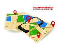 Mobile GPS navigation map and pin marker with modern digital device.  Stock Photography