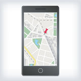 Mobile gps navigation with map Royalty Free Stock Images