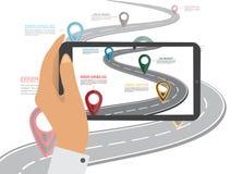 Mobile gps navigation on mobile phone. Stock Photos