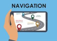 Mobile gps navigation on mobile phone. Stock Photo