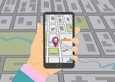 Mobile gps navigation on mobile phone. Royalty Free Stock Photos