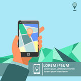 Mobile gps navigation on mobile phone with map poster Stock Photos