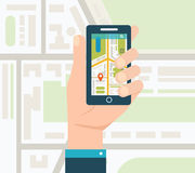 Mobile gps navigation on mobile phone with map Stock Photography