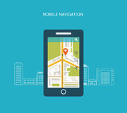 Mobile gps navigation on mobile phone with map Stock Images