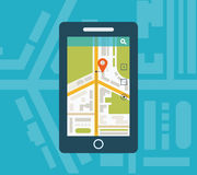 Mobile gps navigation on mobile phone with map Royalty Free Stock Photography