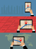 Mobile gps navigation on mobile phone with map. Stock Images