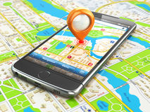 Mobile GPS navigation travel concept. Smartphonewith pin on city Stock Images
