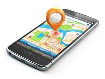 Mobile GPS navigation travel concept. Smartphonewith pin on city Stock Photo