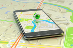 Mobile gps navigation, travel destination, location and positioning concept Royalty Free Stock Image