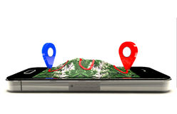 Mobile GPS navigation Stock Images