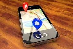 Mobile GPS navigation stock photos