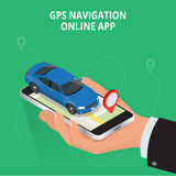 Mobile GPS navigation, travel and tourism concept. View a map on the mobile phone on car and search GPS coordinates Stock Photography