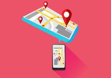 Mobile Gps Technology Smartphone. Vector Mobile Gps Navigation Technology on Smartphone Stock Photography
